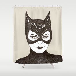 Cat Woman Sketch Meow Shower Curtain