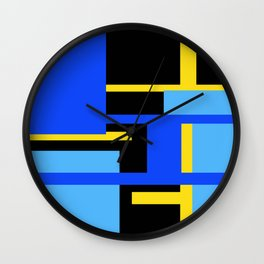 Rectangles - Blues, Yellow and Black Wall Clock