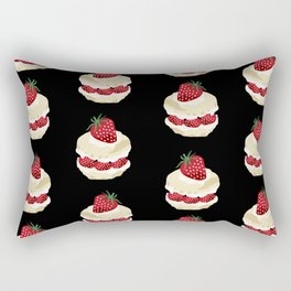 Fruit Shortcake dessert food apparel and gifts food fight black Rectangular Pillow