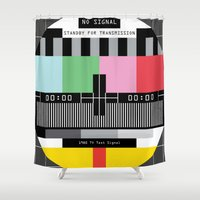 tv Shower Curtains featuring Tv signal 80's classic Television vintage by Patricia Pino