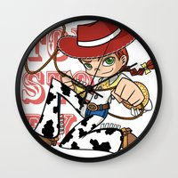 toy story Wall Clocks featuring Toy Story Jessie by RottenBunnyMeat