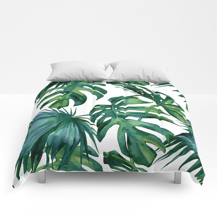 Clic Palm Leaves Tropical Jungle Green Comforters By Followmeinstead