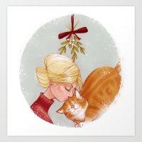 Under the Mewstletoe Art Print