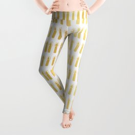 Luxe Gold Light a Candle Pattern, Hand Drawn Seamless Vector Illustration Leggings