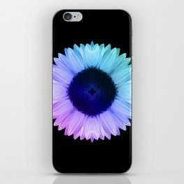 Iridescent Geometric Sunflower Decor \\ Symmetrical Flowers Pink Purple Blue Nature Bohemian Style iPhone Skin