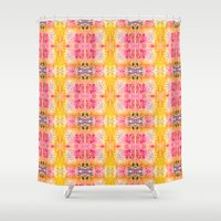 indie Shower Curtains featuring Indie art lighter tones by Jocelyn Friis