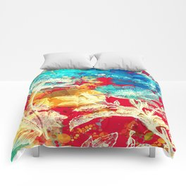 RED FLORAL ABSTRACT Comforters