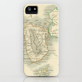 Vintage Map of Guadeloupe (1856) iPhone Case