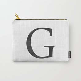 Letter G Initial Monogram Black and White Carry-All Pouch