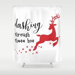 Dashing through Hos Shower Curtain