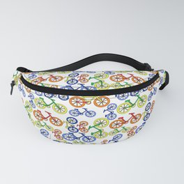 Colorful Bikes Fun Bicycles in Red, Blue, Orange, Yellow Pattern Fanny Pack