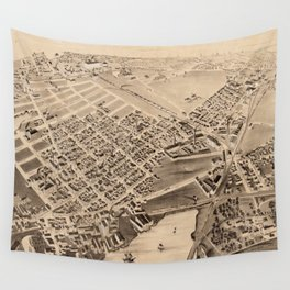 Vintage Pictorial Map of East Cambridge MA (1879) Wall Tapestry