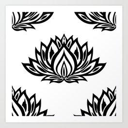 Black and White Lotus Pattern Art Print