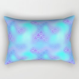 Cyan Blue and Violet Mermaid Tail Abstraction. Magic Fish Scale Pattern Rectangular Pillow