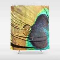 peacock feather Shower Curtains featuring Peacock Feather by Helle Gade