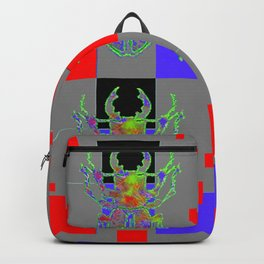 RED CUBIC GREY ART WITH BEETLE & PURPLE ACCENTS Backpack