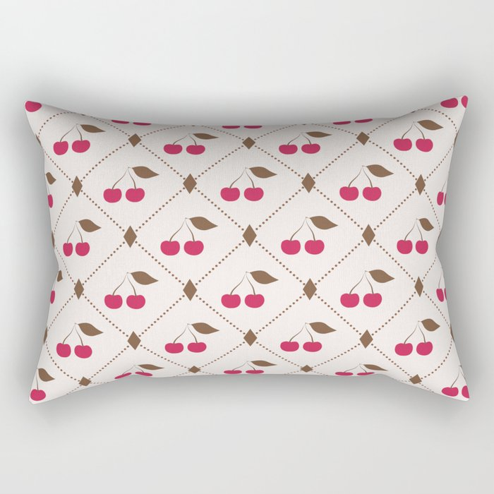 Seamless pattern with cherries and polka dot rhombus Rectangular Pillow
