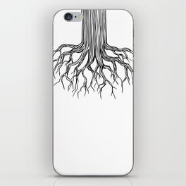 Tree Root Drawing (black on white) iPhone Skin
