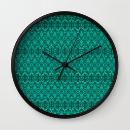 Cyan Damask Pattern Wall Clock