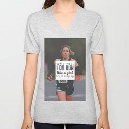 Run Like A Girl Lady Boss Runner Queen Princess Unisex V-Neck