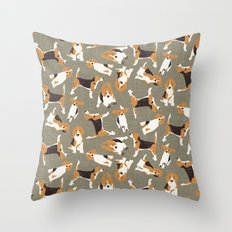 beagle scatter stone Throw Pillow