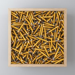 Pencil it in / 3D render of hundreds of yellow pencils Framed Mini Art Print
