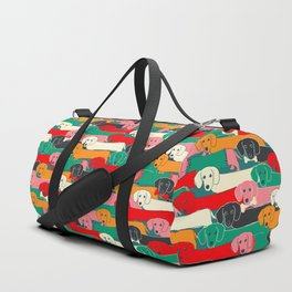 dachshund pattern- happy dogs Duffle Bag