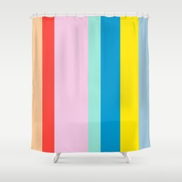 the color of summer stripes Shower Curtain