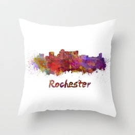 Rochester MN skyline in watercolor Throw Pillow