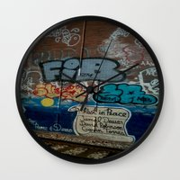 grafitti Wall Clocks featuring Grafitti Art by Lisa De Rosa-Essence of Life Photography