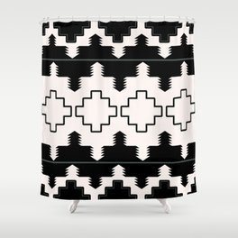 Rustic Native Indian black and white pattern Shower Curtain