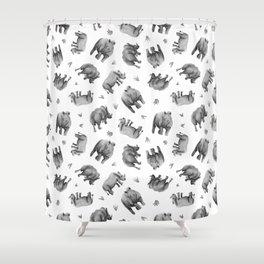 Rhino's Grazing - Black & White Shower Curtain