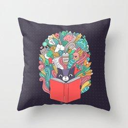 Cat reading a book. Throw Pillow