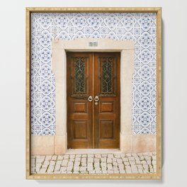 Ericeira door | Portugal travel photography print | Pastel wanderlust vibes  Serving Tray