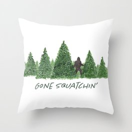 Gone Squatchin' Forest Edition Throw Pillow