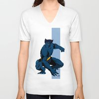 beast V-neck T-shirts featuring Beast by Andrew Formosa