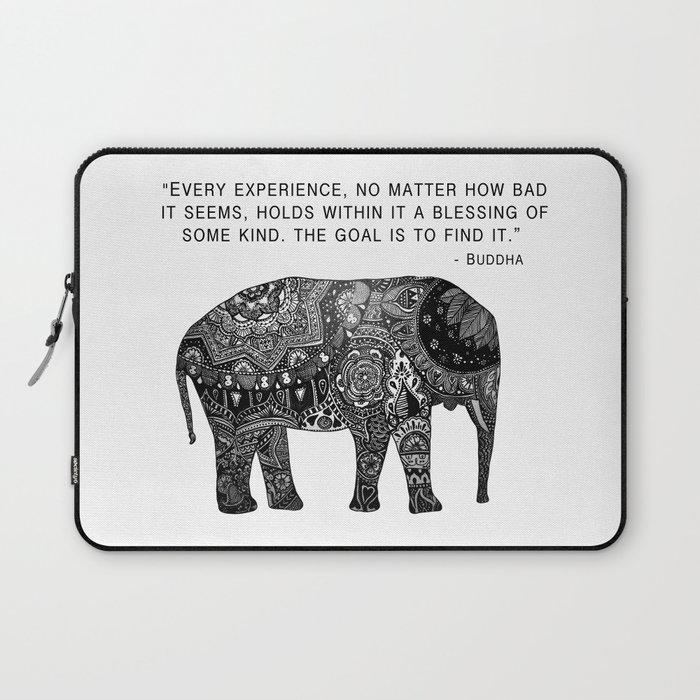 Buddha Quote With Henna Elephant Laptop Sleeve By Madelinemargaret