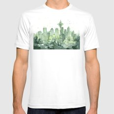 Seattle Watercolor Painting MEDIUM Mens Fitted Tee White