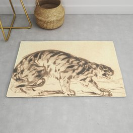 "Eugène Delacroix ""Crouching Tiger"" Rug"