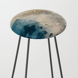 Embrace: a minimal, abstract mixed-media piece in blues and gold with a hint of pink Counter Stool