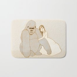 Gorilla and Girl Bath Mat