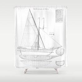 Vintage black & white sailboat blueprint drawing antique nautical beach or lake house preppy decor Shower Curtain