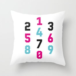 Typography Numbers #1 Throw Pillow