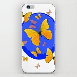 YELLOW BUTTERFLIES SWARM & BLUE RING MODERN ART iPhone Skin