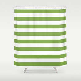 Green and white lines Shower Curtain