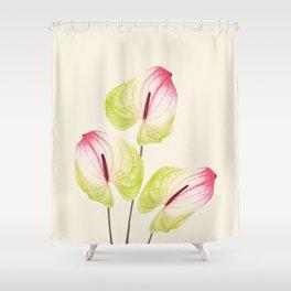 three Flamingo Flowers Graphic design Shower Curtain