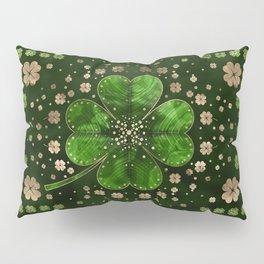 Irish Shamrock Four-leaf clover Malachite and gold Pillow Sham