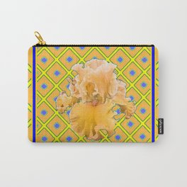 Peachy German Iris Blue & Yellow Art Carry-All Pouch