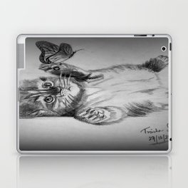 Kitten catching the butterfly Laptop & iPad Skin