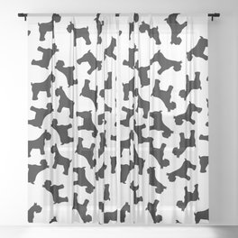 Schnauzer - Simple Dog Silhouette Sheer Curtain